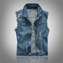 Plus Size 6XL Denim Vest Men Sleeveless Jackets Casual Waistcoat Men's Jean Coat Ripped Slim Fit Men Jacket Cowboy Spring Autumn wrangler men s tall george strait cowboy cut slim fit jean
