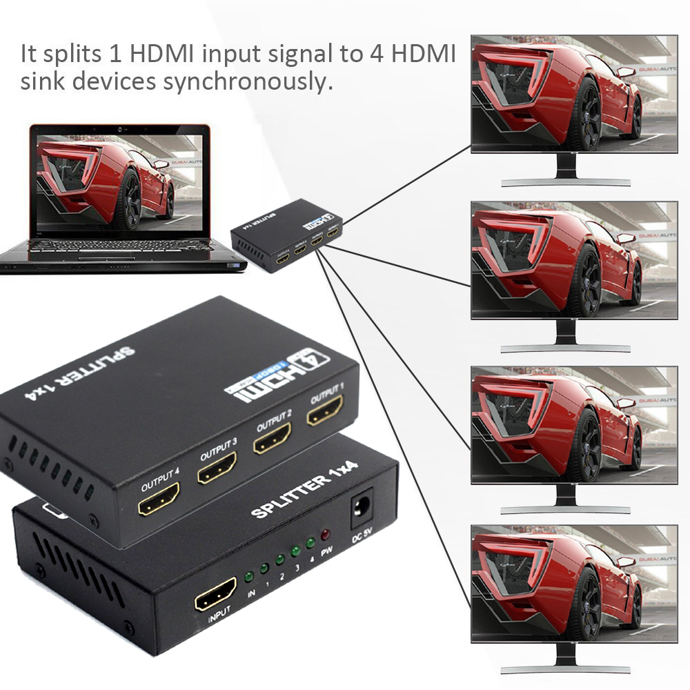 Image 4 - AIXXCO HDCP HDMI Splitter Full HD 1080p Video HDMI Switch Switcher 1X2 1X4 Split 1 in 2 Out Amplifier Display For HDTV DVD PS3hdmi switch switcherhdcp hdmi splitterhdmi switch -