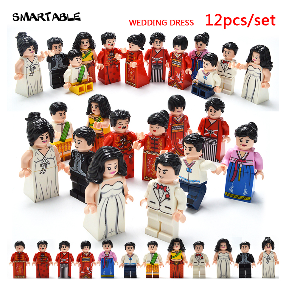 Smartable 12pcs Building Blocks Figures brick DIY toys Compatible Legoing Figures Wedding Dress for Christmas Gift 1602 12pcs set children kids toys gift mini figures toys little pet animal cat dog lps action figures