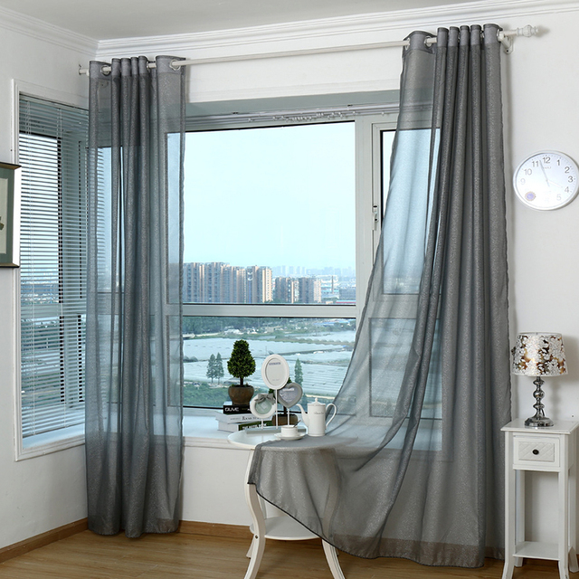2017 Modern Curtains For Living Room Tulle Window Bedroom Cortinas Yarn  Product Gray Window Curtain Sheer Part 89