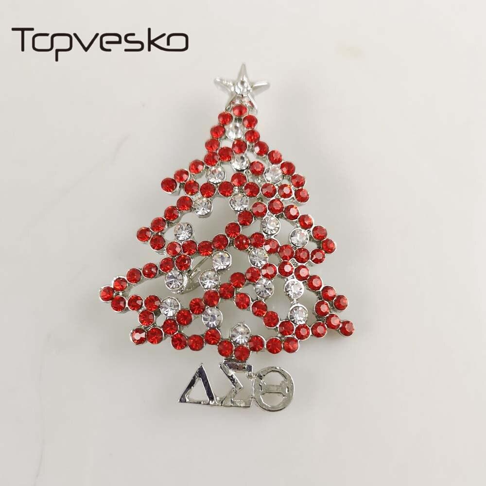 Topvesko Strass Delta Sigma Theta Pérola Broche Pin DST Árvore de Natal  alfinete de lapela 220080fef9c