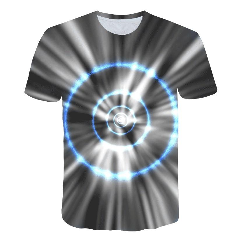 Summer Blue Circle Harajuku Geometry Tshirt Men Women 3D T-shirt Tee Casual Top Anime Camiseta Streatwear Short Sleeve Tshirt