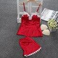 Correa de espagueti lisacmvpnel con pad mujeres sexy pijama de encaje con cuello en v de las mujeres ropa de dormir