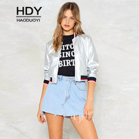 HDY 2018 New Silver Coats Women Striped Long Sleeve Casual Zipper Jackets Female Patchwork Tops Autumn