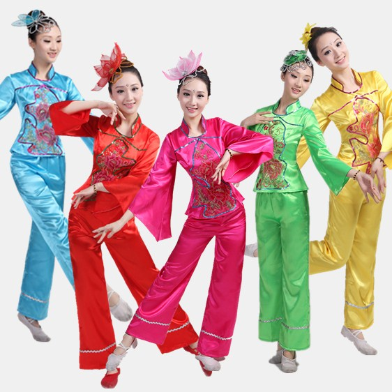Disfraces Dance Costumes 2017 New National Dance Drum Clothing Fan Folk Wear Special Costumes Stage Performance Clothes Yangko