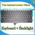 """A Estrenar Para MacBook Pro 13.3 """"A1278 teclado Dinamarca DK + Retroiluminación Retroiluminada + 100 unids tornillos del teclado 2008-2012 Años"""