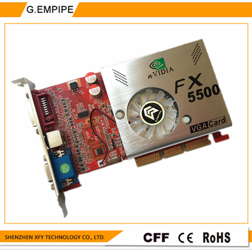 Prix pour 100% NOUVEAU 256 MB DDR 128Bit GF5500 AGP PC Carte Graphique Placa de Vidéo carte graphique Carte Vidéo pour Nvidia S-vidéo
