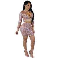 NEW Sequined 2 Piece Suit Short Dress Shiny Sexy V Neck Club Casual Dress Leisure Strap