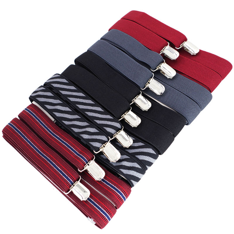 Man's Suspenders 4clips Braces 2019 New Tirantes Ligas Adjustable Elastic Pants Suspenders Width:2.5cm Length:120cm