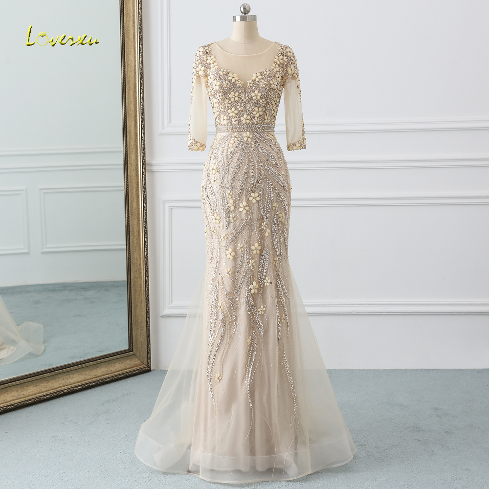 Loverxu Sexy Illusion Long Sleeve Mermaid   Prom     Dresses   2019 Sweep Train Beaded Crystal Trumpet   Dress   for Party Vestido De Festa