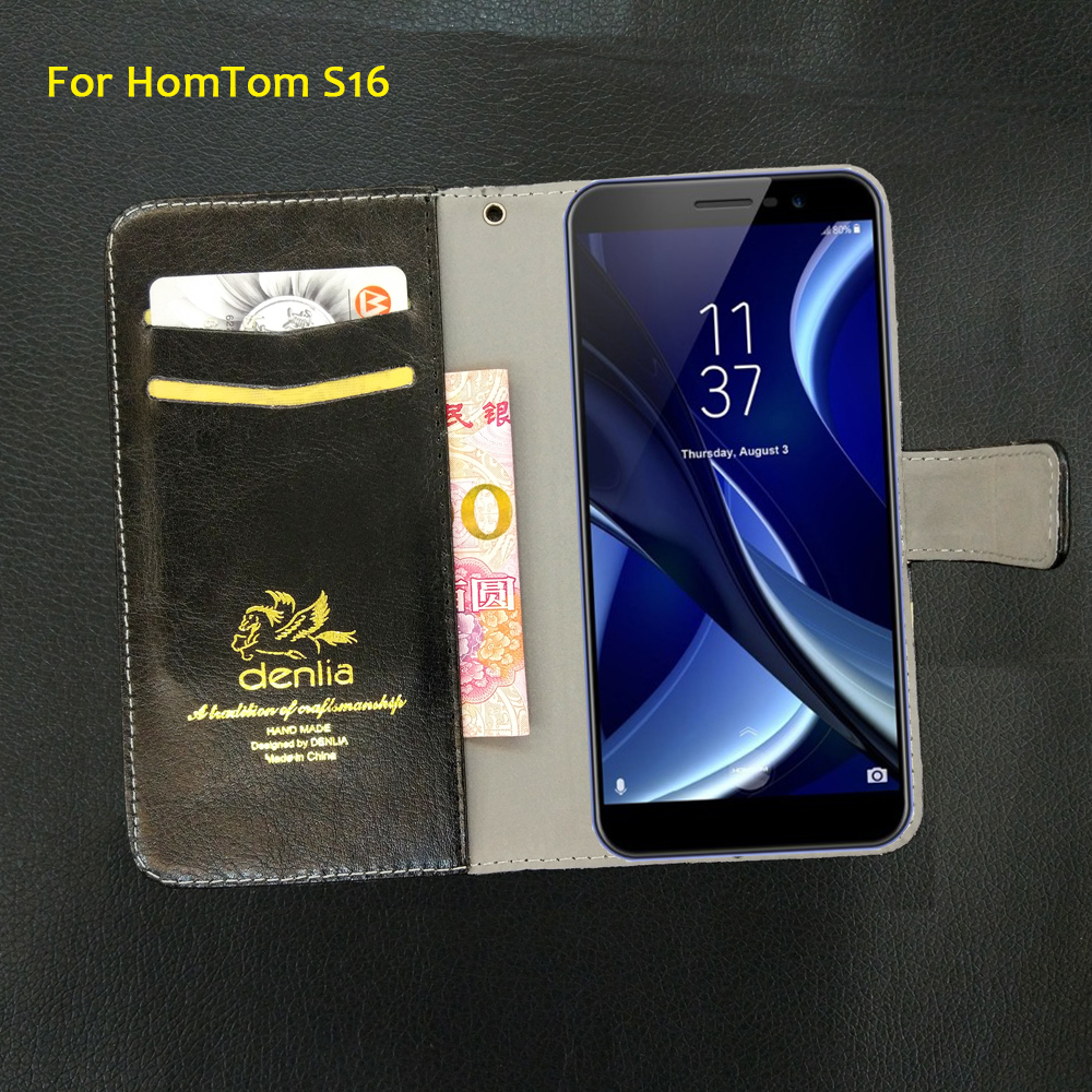 TOP New! HomTom S16 Case 5 Colors Flip Leather Case Fashion Exclusive Phone Cover Credit Card Holder Wallet+Tracking