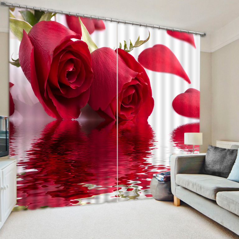 Rose Flowers Printed Modern Luxury 3D Blackout Curtains For Bedding room Living room Office Wall Home