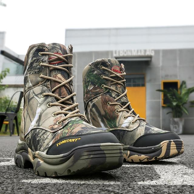 Askeri Ordu Erkekler Çizmeler Kış Dantel Kadar Su Geçirmez Savaş Ayak Bileği Taktik kar botu Adam Artı Büyük Boyutu iş ayakkabısı Mens