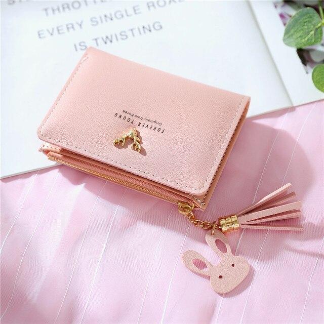Qianxilu Women Pu Short Wallet Golden Deer
