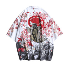 #4352 Summer Mens Kimono Shirt Plus Size Japanese Kimono Cardigan Patterns Open Stitch Fish Crane Print Harajuku Men Clothing