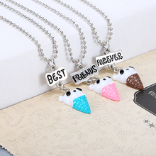 Free Shipping Best Friends BFF Resin Bear Pendant Bead Chain Necklace 3 colors lead nickel cadmium