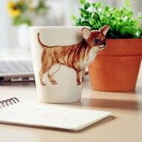 Chińskie Kung Fu Herbaty, 3D Twórcze Zwierząt Malowane Porcelanowe Kubki Kubek Kawy Kilka Filiżanek, Chihuahua Pkt Darmowa Wysyłka