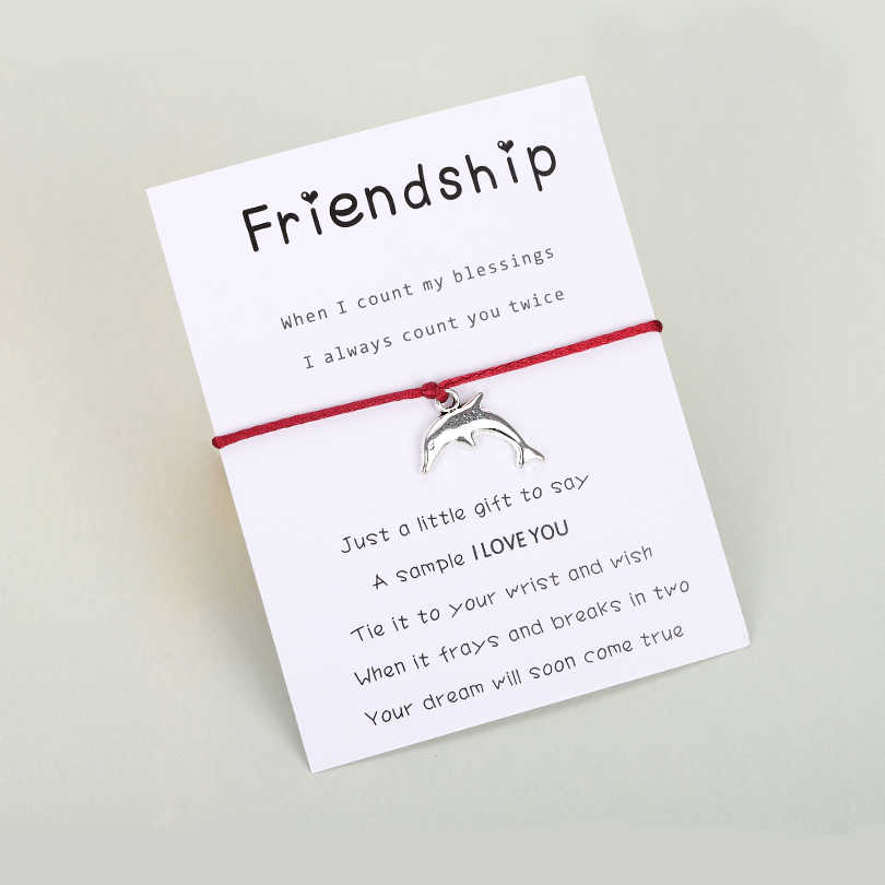 VEKNO ミニマリストイルカ赤糸ブレスレットシルバー 2019 調整可能なロープ友情コードブレスレットファム子供手作りビジュー