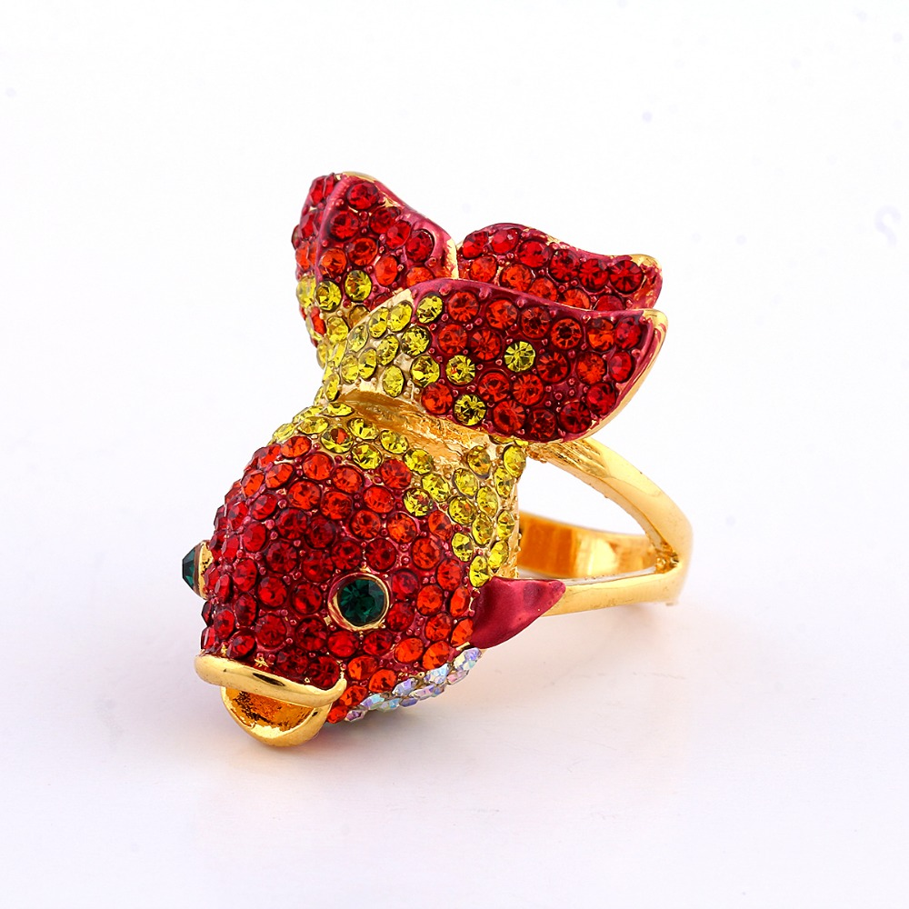 Gold color Cute Fish Big Animal Rings for Women Colorful CZ Crystal Ringen Bijoux Femme J00774