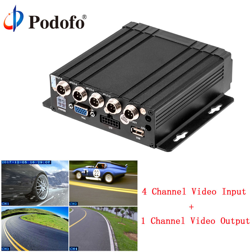 Podofo 4CH Car Mobile DVR Vehicle Video Recorder Dash Camera SD DVR Embedded SD MDVR with Rear View Cameras Monitoring System