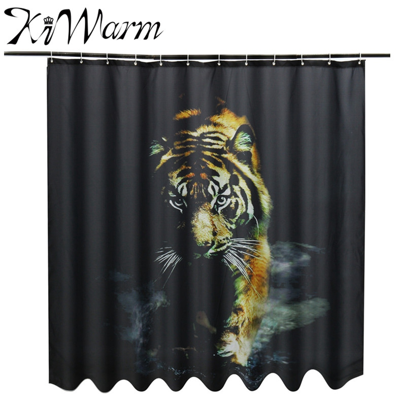 1Pc 180x180cm Tiger Pringting Polyester Shower Curtain Waterproof Mildewproof Artistry Bathroom Hooks For Household Accessory