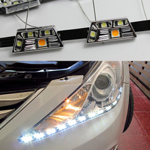 2016 Newest Car Styling Car Eyes Light LED light Guide Lamp Strip With yellow turning light angel eyes light