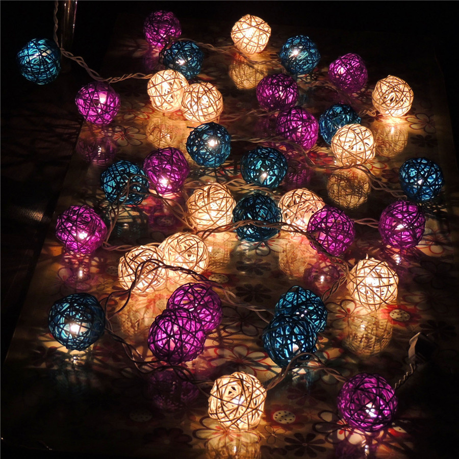 Kunming Ben trade Thai cane garden lights series of 20 head thread purple Christmas decorations