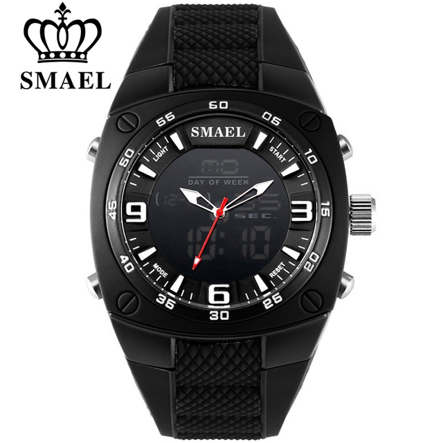 SMAEL Мужские Аналоговые кварцевые цифровые часы с автоматической датой, модные часы для мужчин, водонепроницаемый светодиодный, спортивные ...
