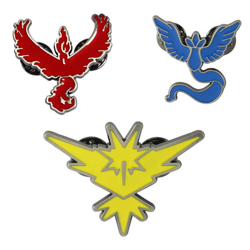 Pokemon Go Team Mystic Team Valor Team Instinct Badge Cosplay Props Zinc Alloy Unisex Brooch Pin Jewelry Accessories
