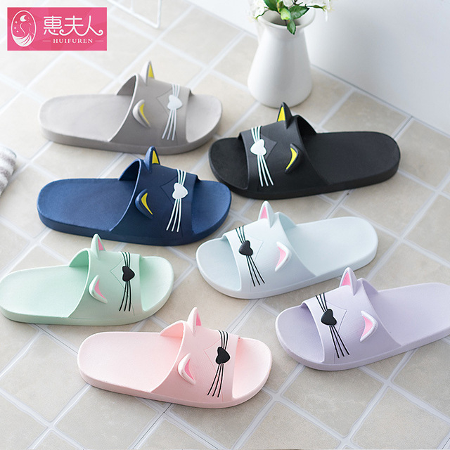 2019 Summer Women Slippers Cute Cartoon Cat Ladies Indoor Bathroom Animal Slipper Couples Slides Designer Flip Flops Soft Shoes 1
