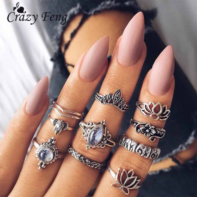Crazy Feng New 10pcs/Set Crown Flower Elephant Ring Sets For Women Men Vintage S