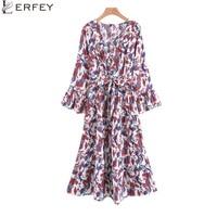 LERFEY Women Autumn Spring Ruffles Dress Floral Print Beach Casual Dresses Ethnic Loose Boho Flare SLeeve