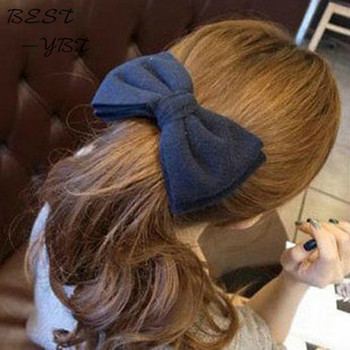 Korean Style Fashion Cute Hair Pin Gig Cloth Handmade Bow Hair Clip for Women 8 Colors image