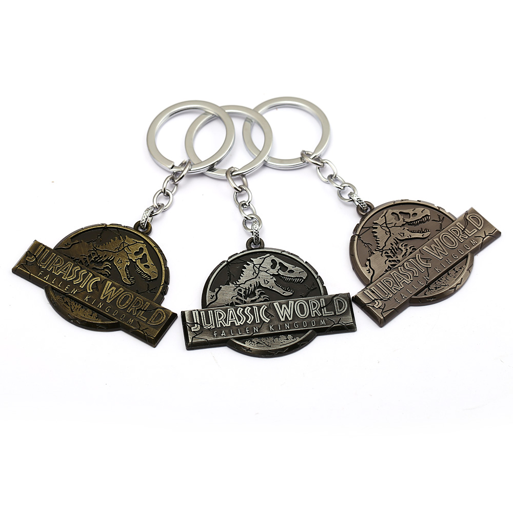 HSIC 3 Colors Movie Jurassic Park Keychain Jurassic World 2 Pendant Metal Lost Kingdom Keychains Llaveros Men Jewelry HC12937