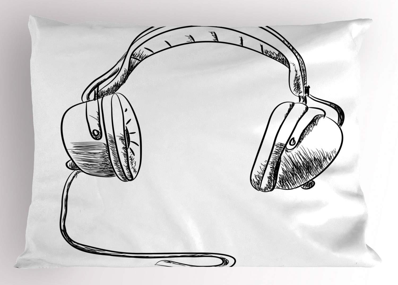 Ritmo da música Travesseiro Sham Estilo Esboço Desenhado À Mão em Fones de Ouvido DJ de Rádio Hippie Moderno Da Arte Da Ilustração Decorativa Padrão Rainha|Fronha| |  - title=