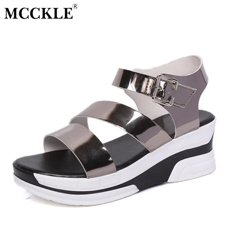 MCCKLE New 2017 Women Shoes Fashion Sandals Woman Open Toe Style Flat Ladies Buckle Black Patent Leather Platform Summer Sandals mcckle 2017 fashion woman shoes flat women platform round toe lace up ladies office black casual comfortable spring