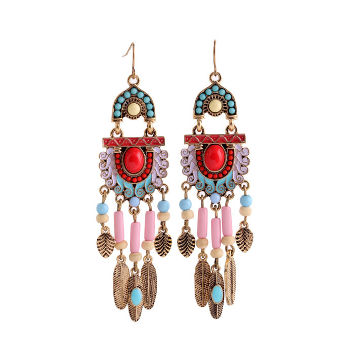 Fashion Accessories Bohemian Pink Chandelier Earrings Vintage Style Antique Hook Alloy Leaf Long Dangle N1760 In Drop From Jewelry