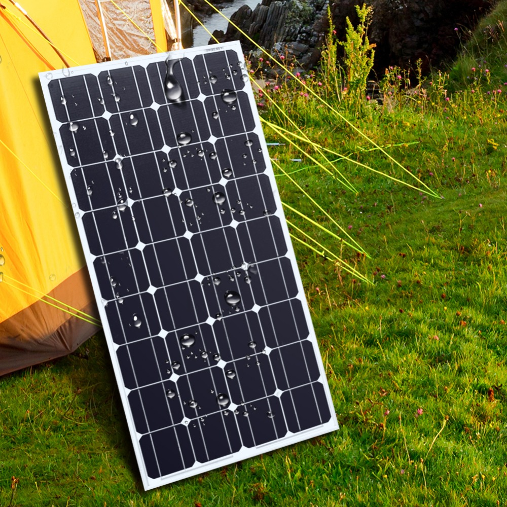 2PCS 100W <font><b>12</b></font> <font><b>Volt</b></font> <font><b>Solar</b></font> Panel charger China <font><b>solar</b></font> monocrystalline panel <font><b>battery</b></font>/Module/System/Home/Boat silicon <font><b>solar</b></font> 100 Watt image