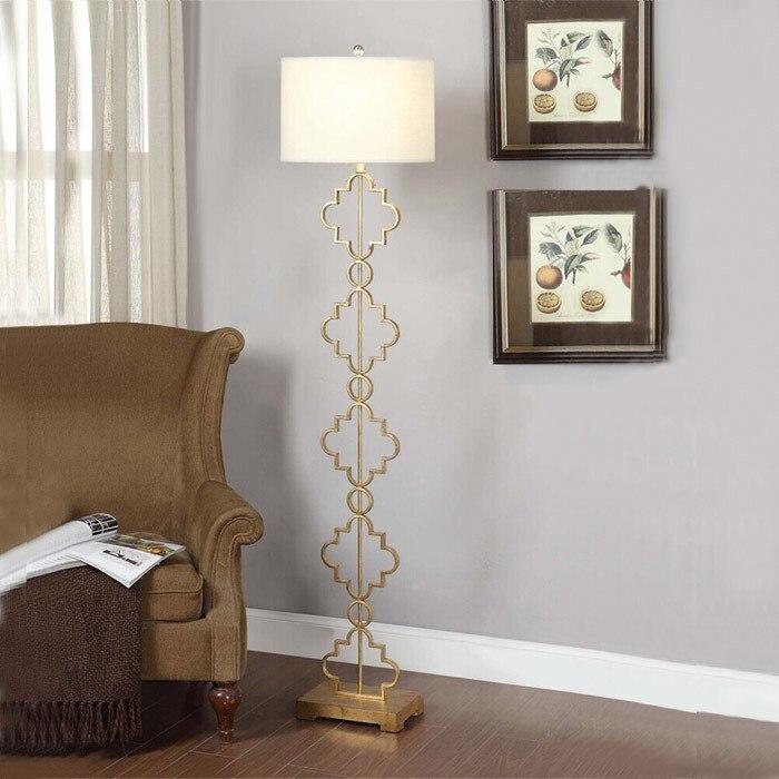 Post Modern Creative Iron Floor Lamp Living Room Bedroom Bedside Model Golden Retro American Style Lamps ZA8127