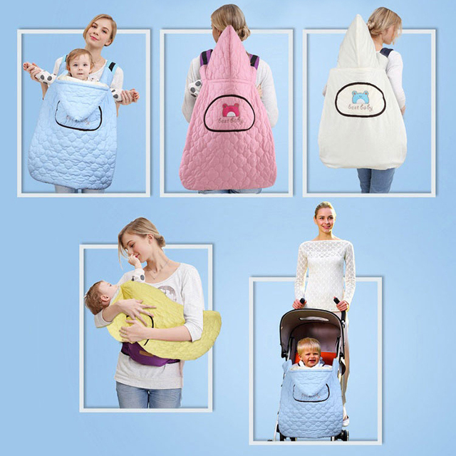 Autum and Winter Baby Sling Warm Reviserble Cloak  Multifunction Outdoor Necessary Infant Carrier Hooded Blanket