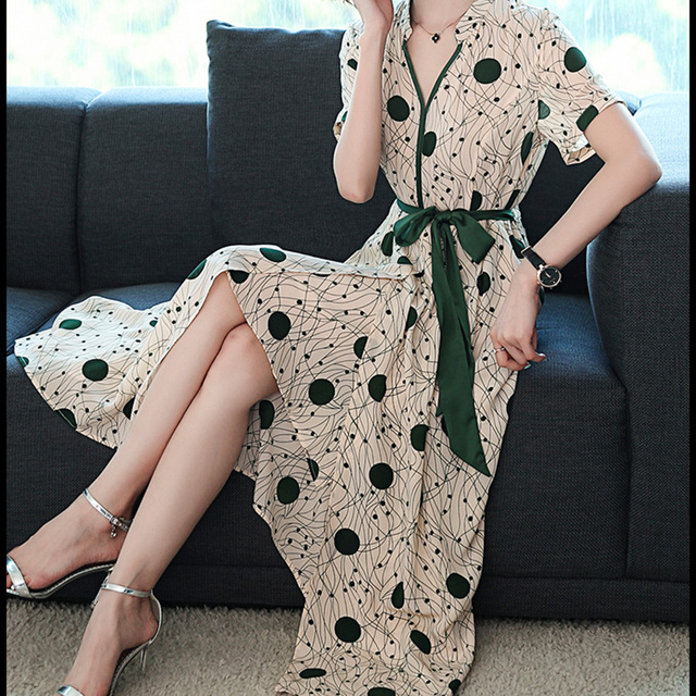 Vestido Polka Dot Maxi Dress