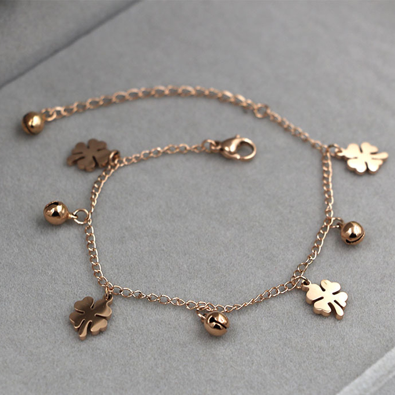 New Arrival Flowers And Bell Anklets For Women Titanium Steel Gold Rose Gold Silver Colors Women Jewelry Anklets Wholesale 1
