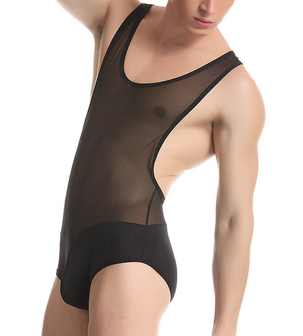 250e1b9e484c Men s Sexy Nylon Fitness Mesh Thin Transparent Bodysuit Underwear ...