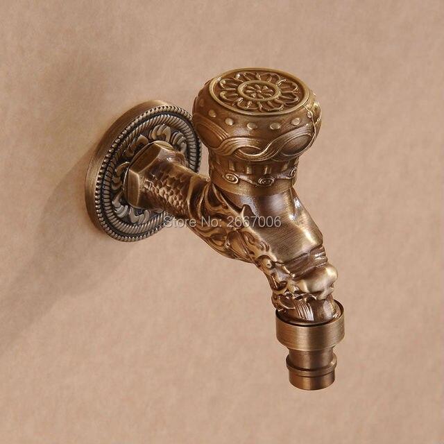 Livraison Gratuite Style Ancien Forme Courte Antique Bronze Dragon Sculpté  Robinet Jardin Bibcock Lave Linge