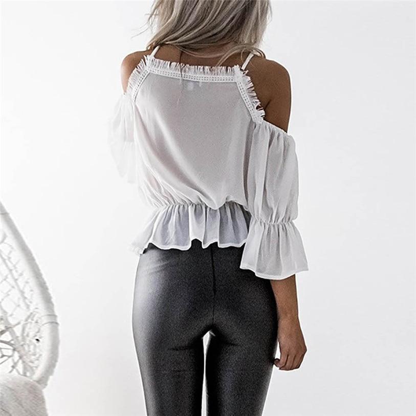 De Juillet Nouvelles Taille Court 2018 S Mode Shirt Casual Femmes Off Blouse Blanc 19 Dentelle En A Chemisier Manches Épaule 2xl Mousseline Tops wESRqUt