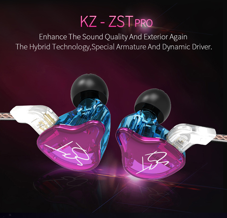 AK Original KZ ZST Colorful BA+DD In Ear Earphone Hybrid Headset HIFI Bass Noise Cancelling Earbuds With Mic Replaced Cable ZSN 3