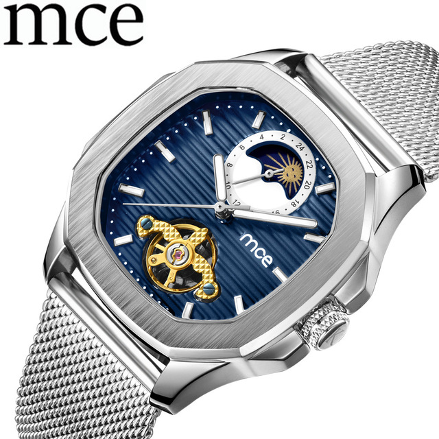MCE Men Mechanical Watch Mens Watches Relogio Masculino Automatic Man Watches Leather Watch Tourbillon Wristwatch Male Clock