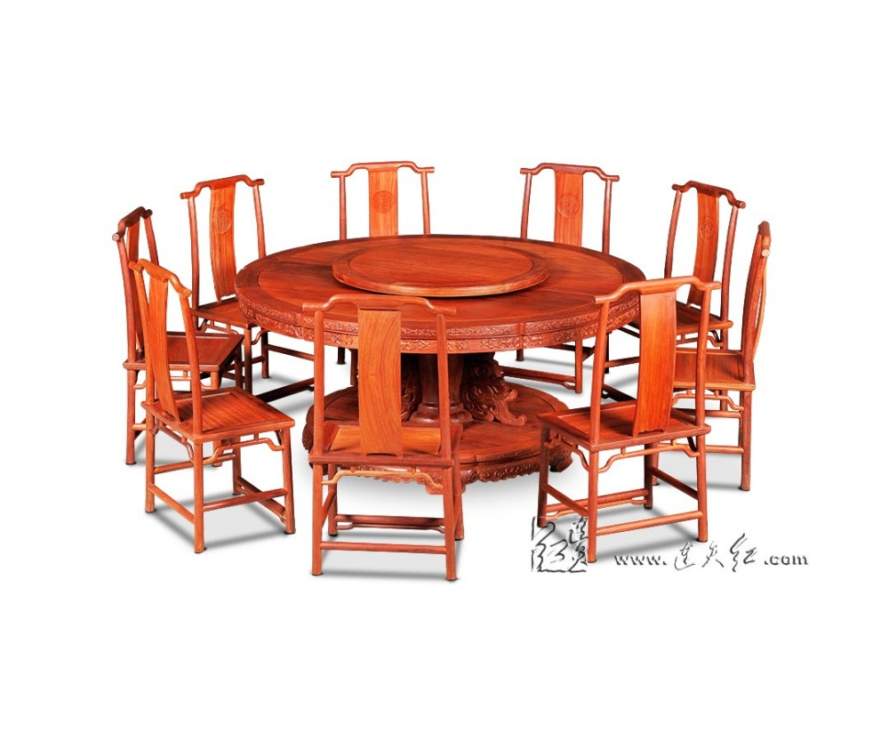 Rosewood 2.1M Round Table Set 9 person Seat Solid Wood board with truntable hotel Dining table China Classical Redwood Furniture classical rosewood armchair backed china retro antique chair with handrails solid wood living dining room furniture factory set