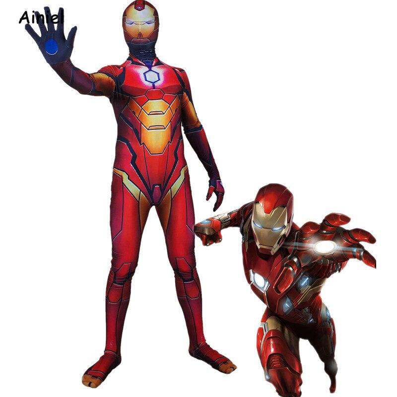 Movie Avengers 4 Endgame Iron Man Cosplay Costume Mask Spiderman Zentai Bodysuit Halloween Iron Man Costumes for Adult Kids Men