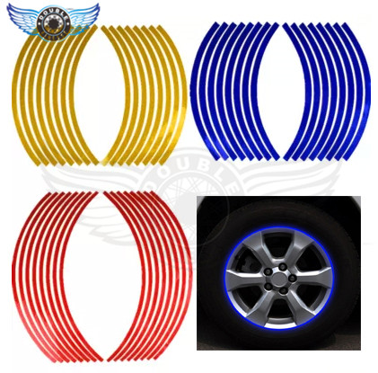 16 Strips Bike Car Motorcycle Wheel Tire Rim Stickers And Decals Decoration Stickers 14 17 18 4 Color Car Styling Accessories 10 pcs diy car stickers travel suitcase wall pencil box bike phone card sliding plate of mixed graffiti car styling stickers